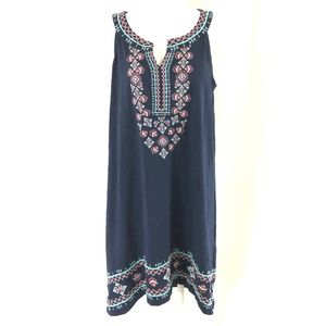 Style & Co Sheath Dress Embroidered Boho Sleeveles